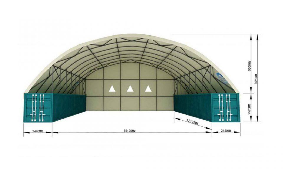 19m o/a 14m x 40′ Free Span SHD – Fire Retardant, UV Stabilised, PVC Covers