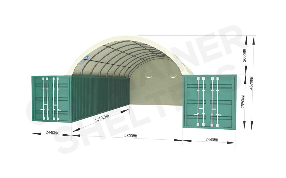 6m Container Shelter (SS) Full End Panel – All Fire Retardant PVC