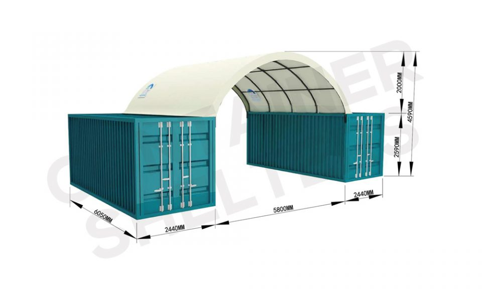 6m x 20′ Container Shelter (SS) – Fire Retardant PVC Covers