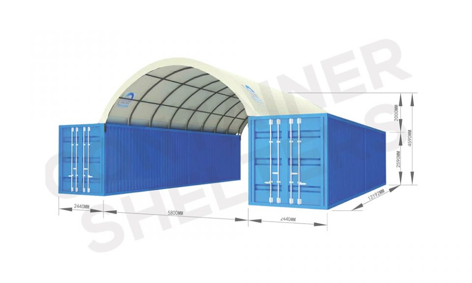 6m x 40′ Container Shelter (SS) – Fire Retardant PVC Covers
